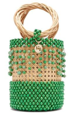 Rosantica By Michela Panero - Cora Beaded Bucket Bag - Womens - Green Multi Diy Clutch, Clutch Bag, Beaded Bags, Summer Bags, Wooden Beads, Purses And Handbags, Bag Making, Jewelry Crafts, Straw Bag