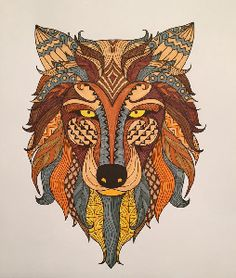 Creation by catbdz, coloring page from the gallery Animals Adult Coloring Pages, Coloring Books, Wolf Totem, Wolf Spirit Animal, Cancerian, Celtic Symbols, Colorful Drawings, Moon Child, Color Inspiration
