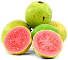 Guava: is a sweet, pink tropical fruit that is not only rich in tropical taste, but also in vitamins A and C (one variety has four times as much vitamin C as an orange!), potassium and magnesium. Some varieties have extremely high levels of antioxidants. The guava plant itself is a member of the myrtle family and it is grown in tropical and subtropical regions.