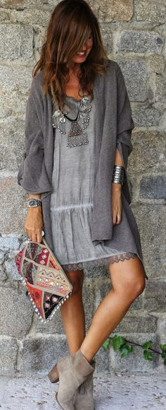 Grey Sexy Boho Outfits | Knitted Jacket and Grey Mini Dress | Chic Street Styles