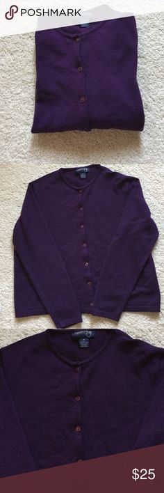 """Country Shop Purple Merino Wool Cardigan Sweater Excellent condition. 100% Merino extra fine wool. Long sleeves. Banded cuffs and bottom. 20.5"""" from armpit to armpit. 19.5"""" long. Hand wash or dry clean. Made in Italy. Not from a smoke free house. Country Shop Sweaters Cardigans"""