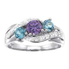 Sterling Silver Simulated Birthstone and Cubic Zirconia Three Stone Loved Ring by ArtCarved® (3 Stones)