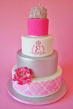 Bat Mitzvah Cakes NJ - Pink Damask Tiara Custom Cakes
