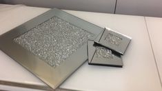 Diamond Glitz Set of 4 Mirrored Coasters - Set of 4 shiny silver mirrored coasters. Part of the stunning Diamond Glitz range inlaid with a square of tiny diamond effect sparkly crushed crystals. Crystal Furniture, Glitter Furniture, Mirrored Bedroom Furniture, Glass Furniture, Coaster Furniture, Furniture Decor, Cheap Furniture, Silver Living Room, Decorating Rooms