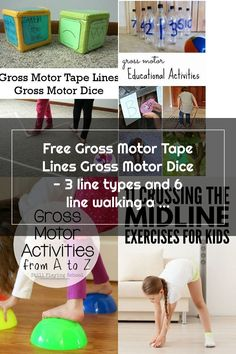 Free Gross Motor Tape Lines Gross Motor Dice - 3 line types and 6 line walking activities to do  -  #grossmotor #freeprintable #3dinosaurs Gross Motor Activities, Activities To Do, Educational Activities, Exercise For Kids, Dice, Free Printables, Walking, School, Teaching Materials