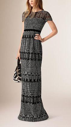 Black Floor-Length Embroidered Mesh Dress - Image 1