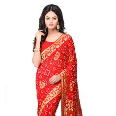 #Red Pure Chinon Crepe #Saree with Blouse