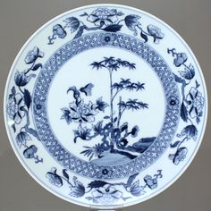 Meissen: Wandteller mit chinesischem Bambusmuster, Kobalt Blau, Teller, Bambus, cabinet plate, wall plate, cobalt blue, underglaze, asian design