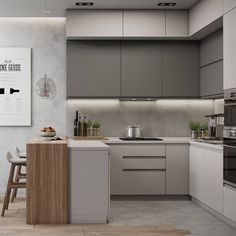 Small Modern Kitchens, Modern Kitchen Interiors, Luxury Kitchen Design, Contemporary Kitchen Design, Interior Design Kitchen, Kitchen Modern, Minimal Kitchen, Kitchen Grey, Bathroom Modern