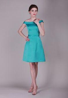 Sheath/ Column Zipper up Off the Shoulder Satin Knee Length Sleeveless Bridesmaid Gowns - Angeldress.co.uk