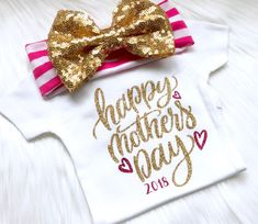 Happy Mother's Day outfit, girls Mother's Day outfit, our first Mother's Day shirt, baby Mother's Day bodysuit, newborn outfit, Mother's Day by PerfectlyPINKBow on Etsy https://www.etsy.com/listing/605978649/happy-mothers-day-outfit-girls-mothers
