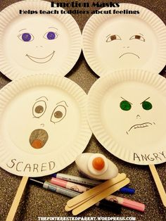 Based on the ELGs this pin represents the Domain of Social Emotional Development, Indicator SED14. The young toddler recognizes his/her own feelings.  The activity is: making emotions masks out of paper plates, then you can discuss and name the emotions, or later when reading stories, you can bring them out and ask what emotion the different characters are feeling.