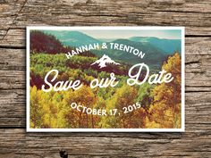 Rustic Mountain Postcard Save the Date // Fall by factorymade