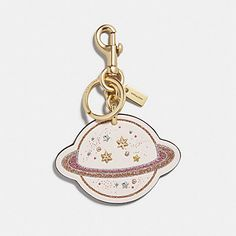Coach Saturn Bag Charm Multi/gold - Details Smooth leather Attached split key ring and dogleash clip 3 inches (L) x 2 inches (H) Cute Keychain, Keychains, Aesthetic Galaxy, Kawaii Room, Geek Gear, Cute Backpacks, Cute Pins, Polymer Clay Crafts, Kids Bags