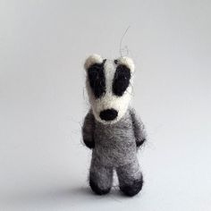 Woodland animals, Needle felted Badger, Gray/White/Black wool hand felted animal, Cute Badger Brooch, gift for her by feltedgift. Explore more products on http://feltedgift.etsy.com