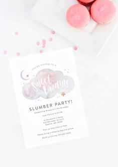 Sweet Dreams Birthday Party: A Slumber Party Dream Come True – Project Nursery Sweet Dreams Sleepover Birthday Party Sleepover Birthday Parties, Pj Party, Moon Party, Slumber Party Invitations, Birthday Invitations, Over The Rainbow, Dessert Table Backdrop, Dream Party, 9th Birthday