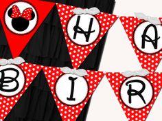 free minnie mouse birthday printables   Printable Flag Banner Girl - Minnie Mouse Red Birthday Party Line ...