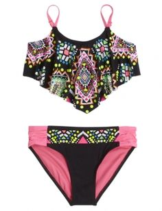 Shop Embellished Flounce Bikini Swimsuit and other trendy girls swimsuits swim a., BEACH OUTFİTS, Shop Embellished Flounce Bikini Swimsuit and other trendy girls swimsuits swim at Justice. Find the cutest girls swim to make a statement today. Summer Bathing Suits, Girls Bathing Suits, Summer Swimwear, Curvy Swimwear, Swimsuits For Teens, Cute Swimsuits, Flounce Bikini, Bikini Swimsuit, Tankini Top