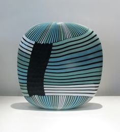 "David Calles- ""Pimpollo, Square Carved, teals, blues"" blown, carved glass"