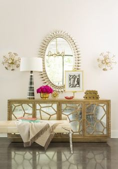 Sexiest Chair at Market:Living With Color Blog-- Matrix mirror front buffet