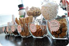 Hot chocolate bar!  This link comes with free download of round labels for your hot chocolate bar.