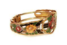Enamel Bracelet Valentines Day Gift Hinged Bangle by boboCOLLECTED