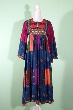 60s vintage folk Afghan dress indiVintage