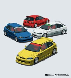 Auto Modellista on Behance Civic Car, Honda Civic Hatchback, Toyota Supra Mk4, Cool Car Drawings, Jdm Wallpaper, Jdm Cars, Slammed Cars, Street Racing Cars, Honda Cars