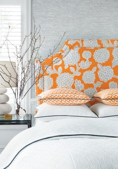 Thibaut- orange & gray #fabric #interiordesign #design #inspiration