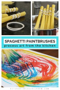 Spaghetti Paintbrushes Process Painting Fun The Kitchen - Creating A Paintbrush Out Of An Unusual Material Such As Pasta Brings An Element Of Fun To This Process Art Activity Spaghetti Paintbrushes And Some Food Coloring Paint Make For A Super Fun Art Pro Toddler Crafts, Preschool Crafts, Toddler Activities, Kids Crafts, Process Art Preschool, Art Activities For Kids, Preschool Monthly Themes, Preschool Art Lessons, Preschool Art Projects