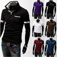 Cheap mens t shirt brand, Buy Quality shirt short directly from China t shirt cotton Suppliers: Spring 2014 New Men Casual Tops Wear Fitness Short Sleeve Clothing Men's Polo Shirt & Cool Shirts For Men, Casual Shirts For Men, Men Casual, Awesome Shirts, Stylish Shirts, Casual Clothes, Casual Tops, Men Clothes, Dress Casual