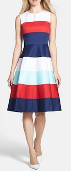 Loving this striped fit & flare dress http://rstyle.me/n/iwdnrnyg6
