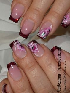 French Manicure Designs Flower Tips 55 Ideas French Tip Nail Designs, Pretty Nail Designs, Pretty Nail Art, Beautiful Nail Art, Nail Art Designs, Nails Design, Nails Yellow, Red Nails, French Nails