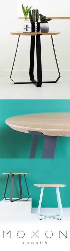 Shunan is a stylish side table designed by Puik Art. Available with either black or teal legs from MOXON London Side Coffee Table, Wood Table, Contemporary Furniture, Furniture Design, Teal, London, Stylish, Black, Home Decor
