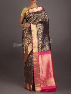 Radhika Blooming Gold On Bold Black #Uppada #WeddingSilkSaree