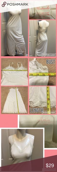 🌸Sz 34B Vintage Pembrooke Long Ivory Night Gown Measurements are in photos. Normal wash wear, no flaws. C3  Ask about a bundle discount on all items that are not ⏰Flash Sale items! I ship everyday. I always package safely. If I run out of boxes, I will use priority bags over a polymailer bag. If you prefer to only receive this great item in a box, please let me know! Thanks! Pembrooke Intimates & Sleepwear Chemises & Slips