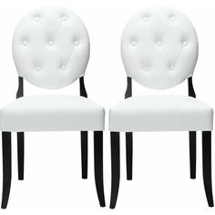 Modway Button Leatherette Dining Chairs, Set of 2 in White