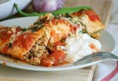 Enchiladas with chicken - http://wonderdump.com/enchiladas-with-chicken/