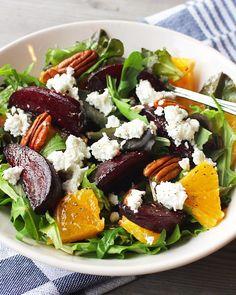 Salade geroosterde biet, sinaasappel en geitenkaas