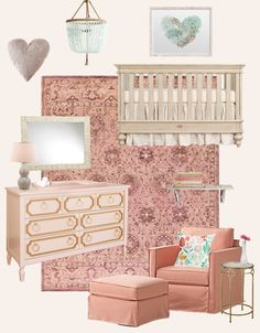 Romantic Girl's Nursery Design Board