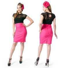 The Nikki pencil skirt is perfect for those who love the pinup style of high waisted skirts, but like a shorter style.  Ending above the knee, with back zipper entry and split for easy walking.