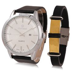 19a0dc083c2 Buy Professional Men s Leather Band Watch With Bracelet