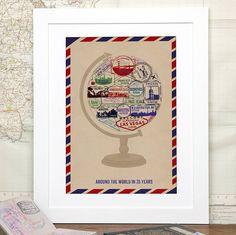 Personalised Travel Globe Print