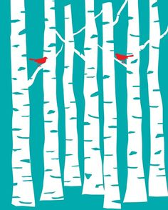 Aqua Blue Forest with Red Birds - 8x10 art print #Blue #Red #winter #aqua #turquoise