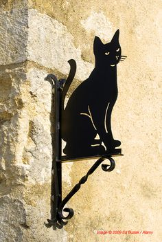 Black Cat sign seen high up on a wall in the beautiful old town of Chauvigny, in the Vienne département of France. Image © 2009 Ed Buziak / Alamy.