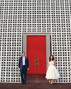 The couple in front of the Parker Palm Springs Hotel, where they and 62 guests enjoyed the reception after the ceremony.