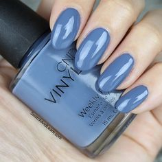 """CND's """"Denim Patch"""" polish/shellac from its 2016 """"Craft Culture"""" collection. loving this dusky blue! Blue Gel Nails, Shellac Colors, Gradient Nails, Nail Colors, Acrylic Nails, Sinful Colors, Hair And Nails, My Nails, Fall Nails"""