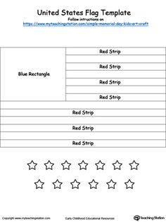 **FREE** United States Flag Template Worksheet. U.S. flag template for Memorial Day or Independence Day kids art craft project.