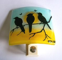 fused glass birds | Fused Glass Night Light Three Birds by CDChilds on Etsy