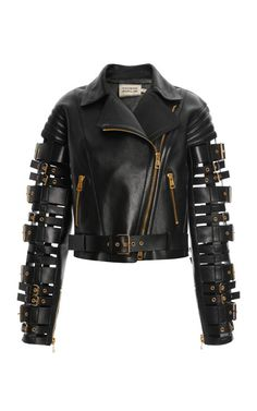 Straps And Buckles Motorcycle Jacket by Fausto Puglisi for Preorder on Moda Operandi